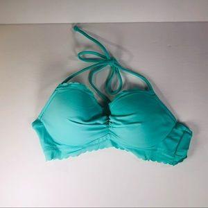 Victoria Secret Teal Scalloped Edge Bikini Top 32A